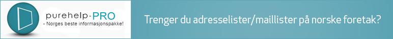 Trenger du adresselister/maillister på norske foretak?